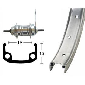 Bike-Parts Ruota posteriore Ruota posteriore 20x1.75 36L freno a contropedale, silver
